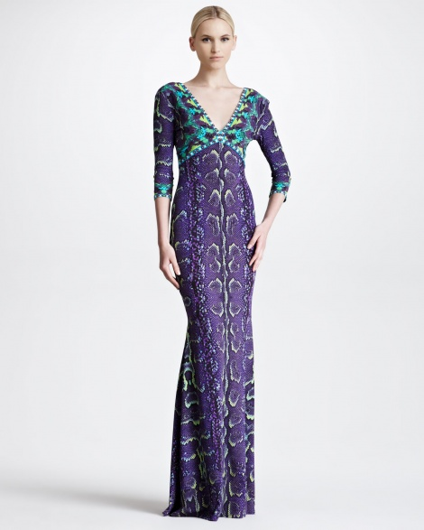 Exotic print long sleeve gown