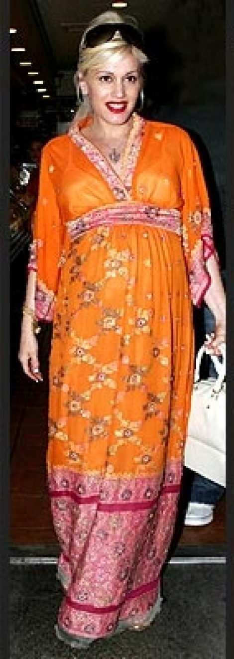 Exotic print maternity maxi as seen on Gwen Stefani