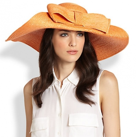 Oversize brim hat with bow