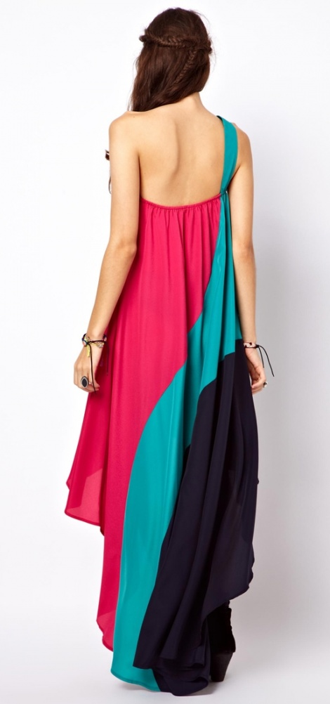 One shoulder parachute gown