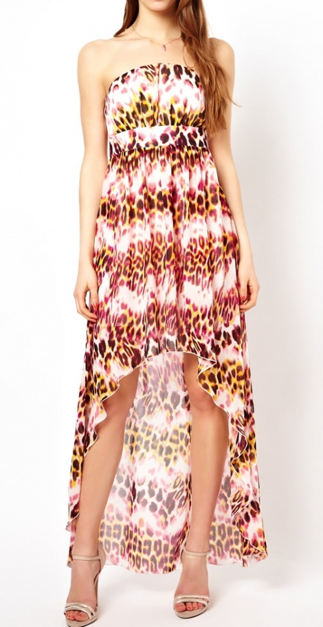 Leopard print waterfall gown