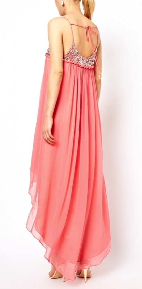 Jewelled floaty asymmetric gown