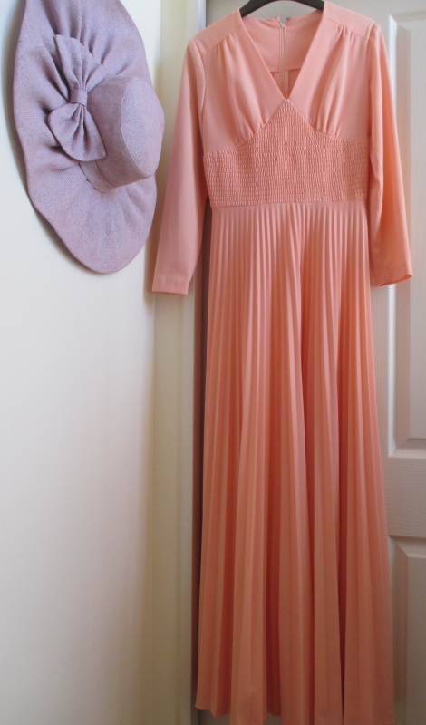 Vintage pleated long sleeve gown