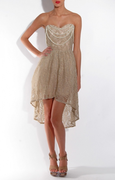 Coco Chanel pearls & lace dress
