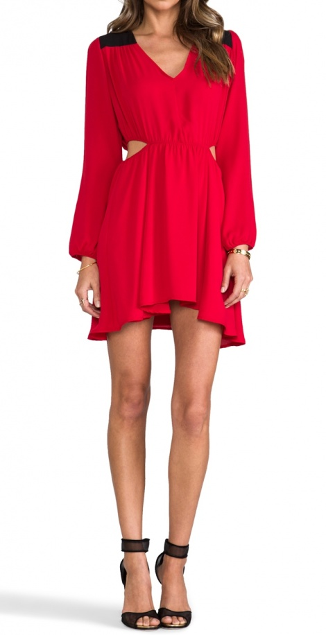 70s cutout long sleeve dress