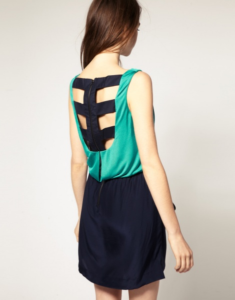 2-in-1 silk cage dress with pockets