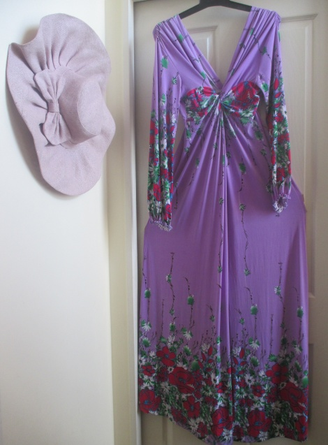 Lilac floral maternity/nursing maxi