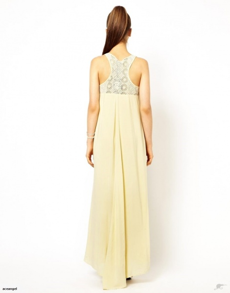 Lemon sorbet high-low gown