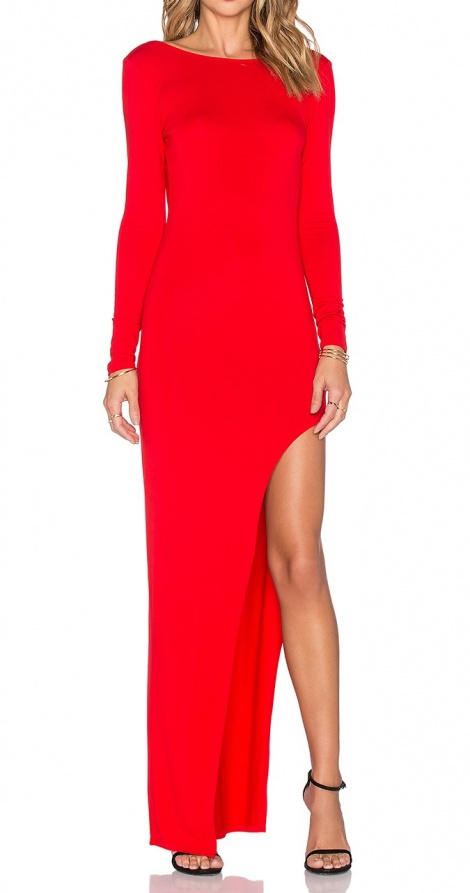Asymmetric slit gown
