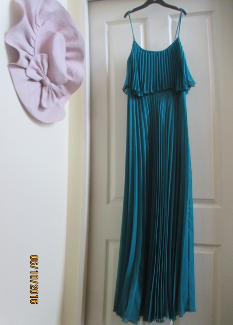 70s aquamarine pleated gown