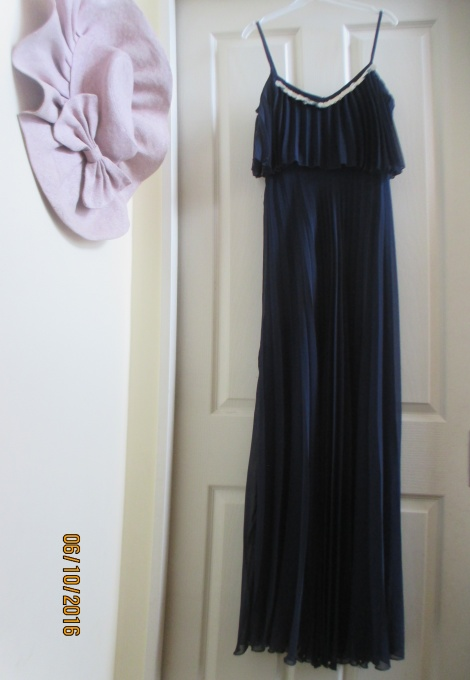 70s midnight blue pleat gown