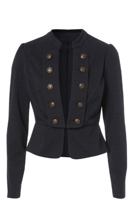 Military collarless blazer