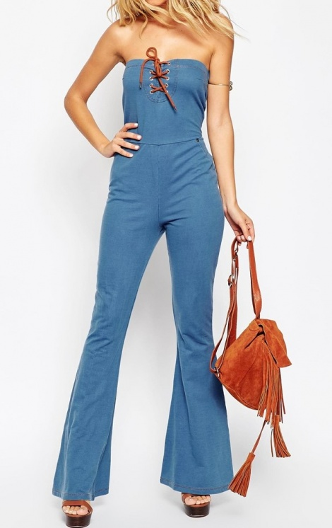 70s flare denim jumpsuit