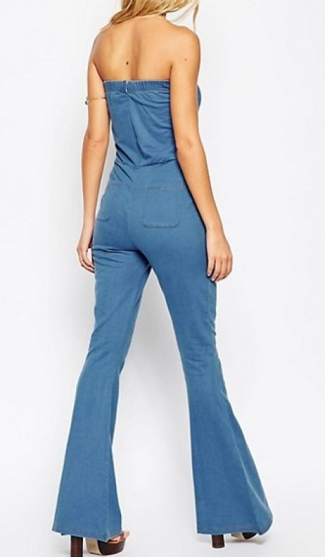 70s denim flare jumpsuit