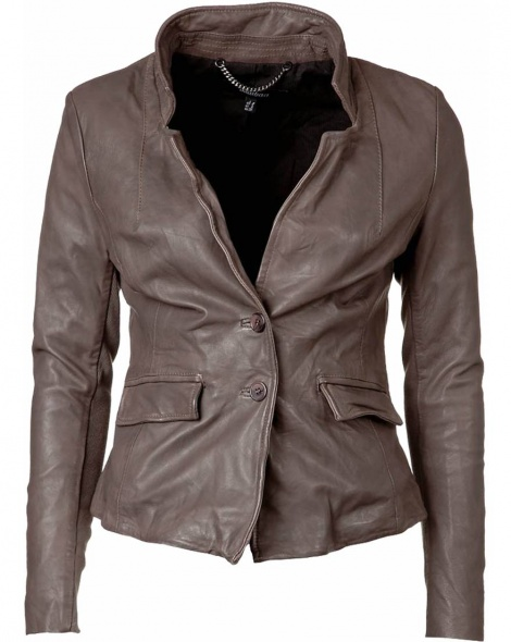 Mink leather notch lapel jacket