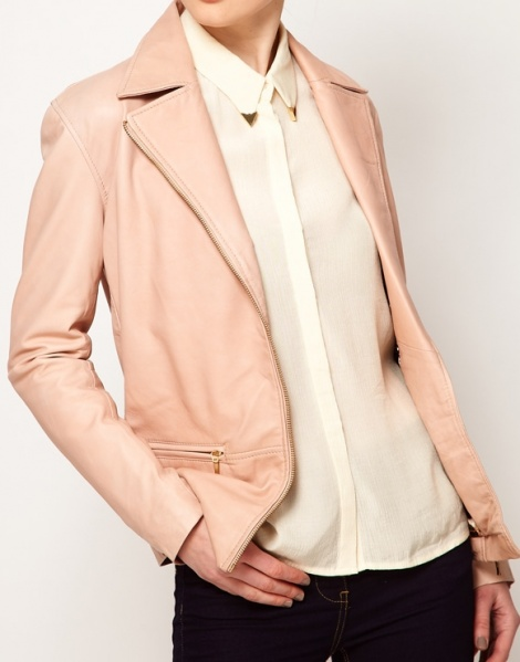 Blush leather blazer-biker jacket