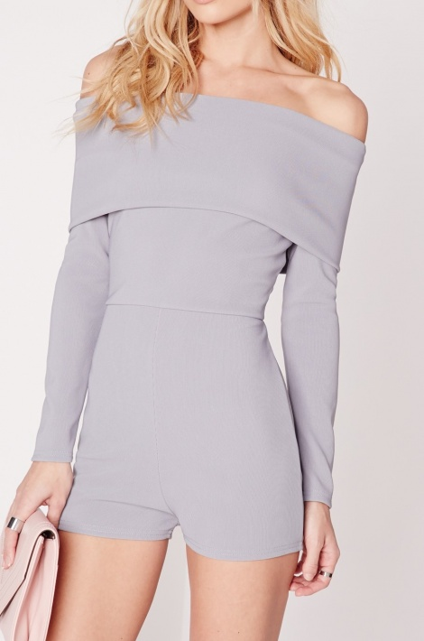 Lilac-grey sweater playsuit