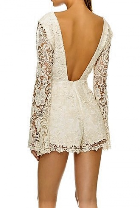 Boho lace angel sleeves playsuit