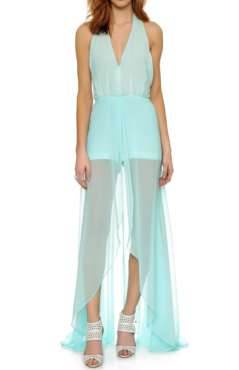 Jumpsuit gown with train