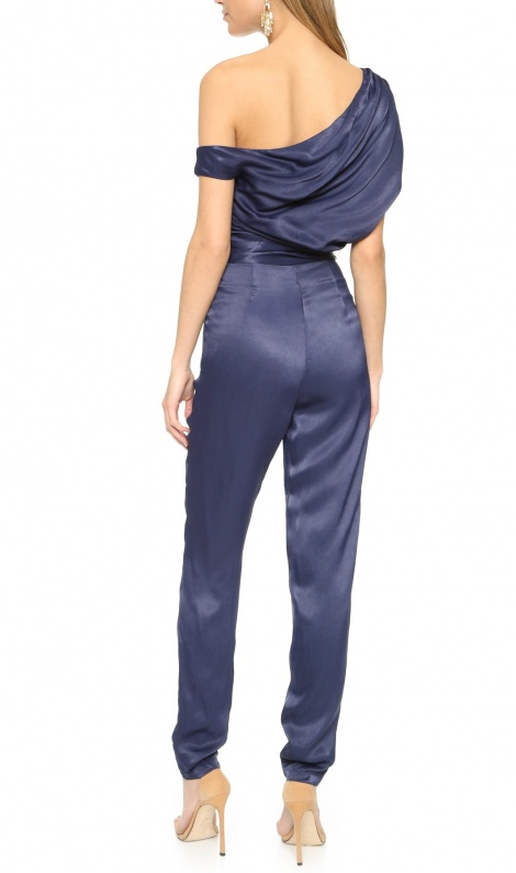 Royal blue silky jumpsuit