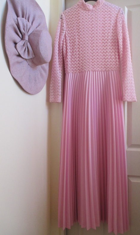 High neck crochet pleated gown