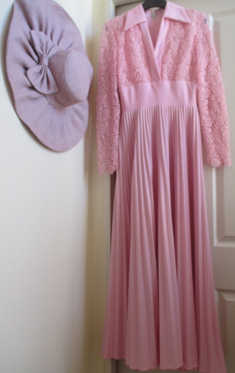 Crochet pleated long sleeve gown