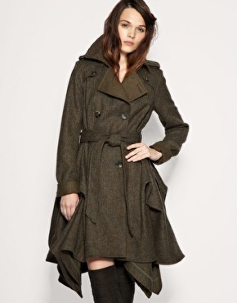 Heritage tweed bustle trench