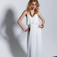 70s ivory pleated gown