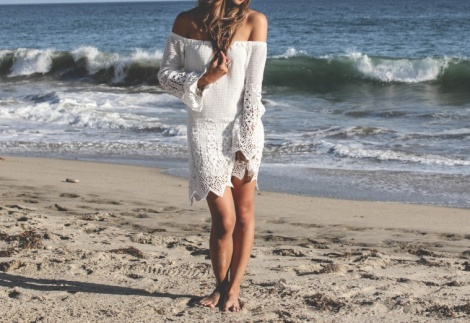 Crochet lace boho dress