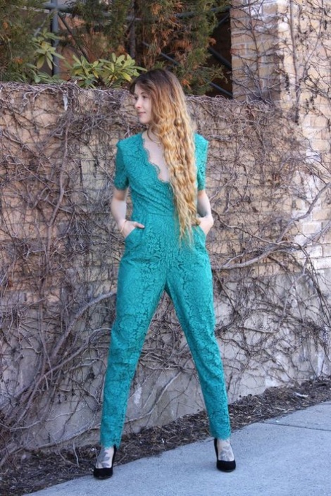 Emerald lace jumpsuit