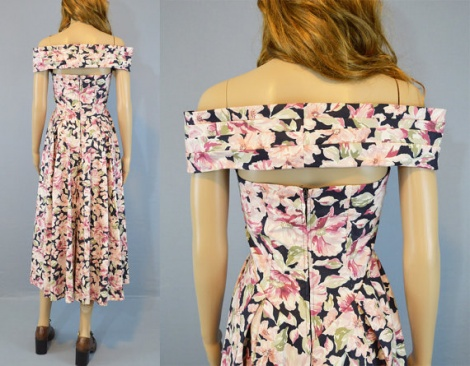 Bardot 50s boned bodice dress