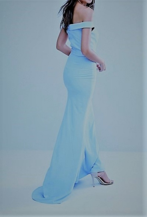 Tiffany blue off-shoulder gown