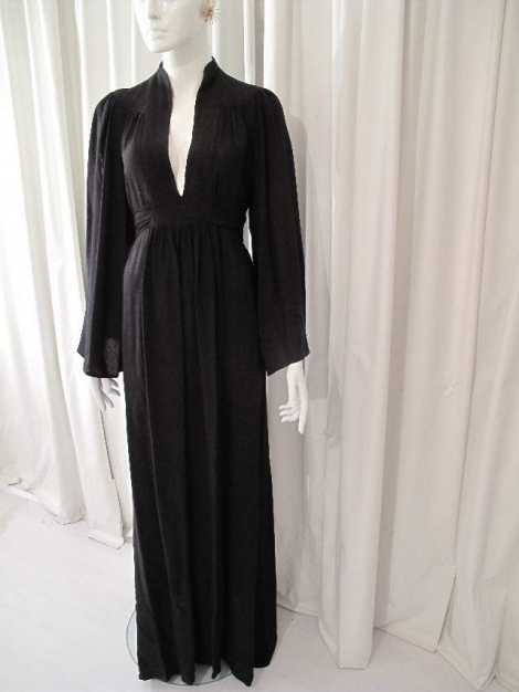 Vintage Ossie Clark style angel sleeve gown