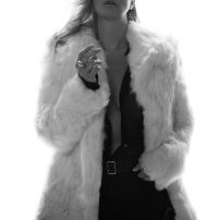 Boho 70s shaggy white fur coat
