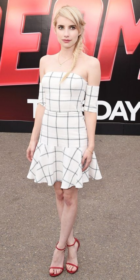 Emma Roberts chequered dress