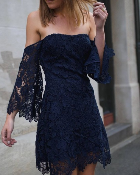 Trumpet sleeve crochet lace bustier dress