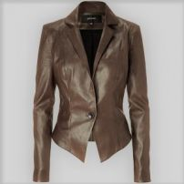 Deep tan leather blazer