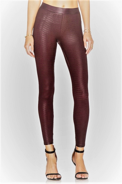 Snakeskin leather look leggings