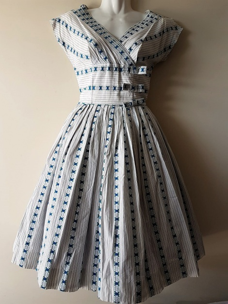 Original 1950s bows & stripes dress