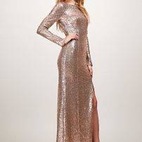 Princess Megan boatneck sequin sleeved gown