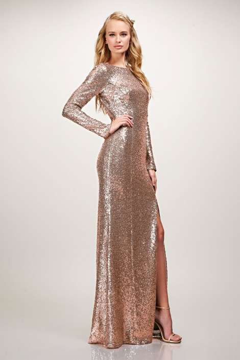Megan boatneck sequin sleeved gown