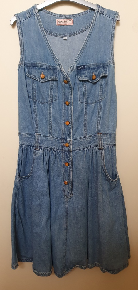 Vintage GUESS denim fit-and-flare shirtdress