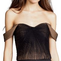 Pleated tulle off shoulder silk bustier