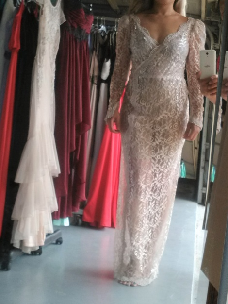 Dynasty sheer lace gown