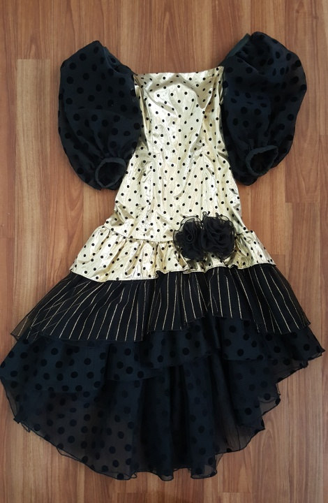 80s polka ruffle off-shoulder dress