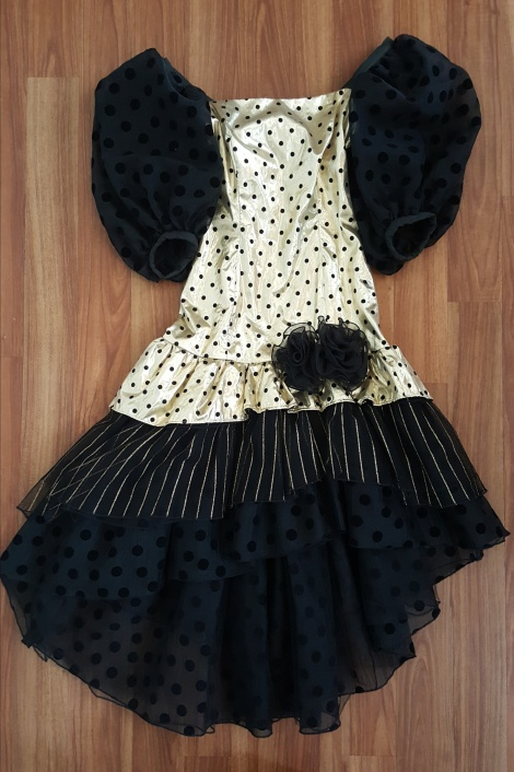 1980s gold and sheer black polkadot dress