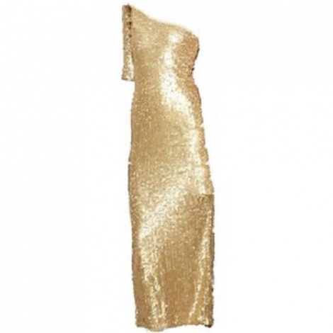 Disco 70s gold sequin gown