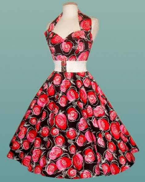 Red roses corset swing dress