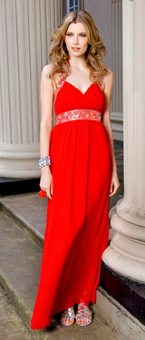 Coral jewelled bustier silk chiffon gown(sold)