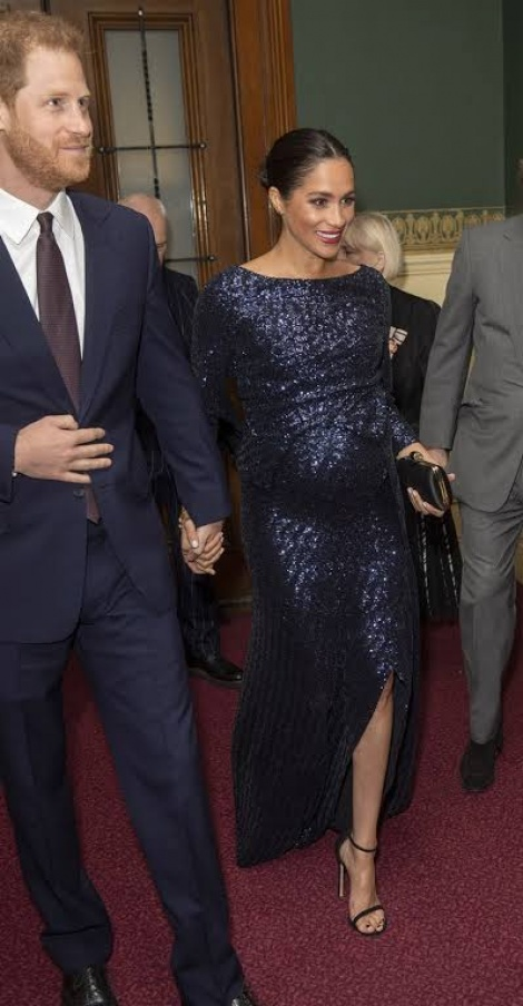 Megan sparkly maternity gown